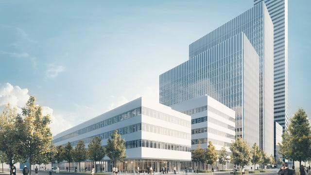 Visualisierung der im Bau befindlichen Gebäude.