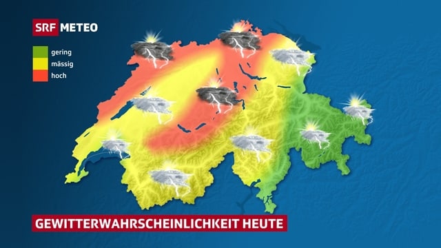 Entlang des Juras, am Nordrand der Schweiz und in den Voralpen ist die Gewittergefahr besonders hoch.