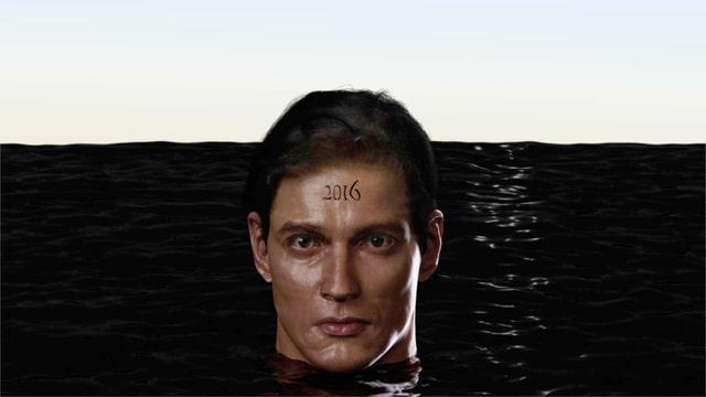 Männerkopf in schwarzem Wasser.