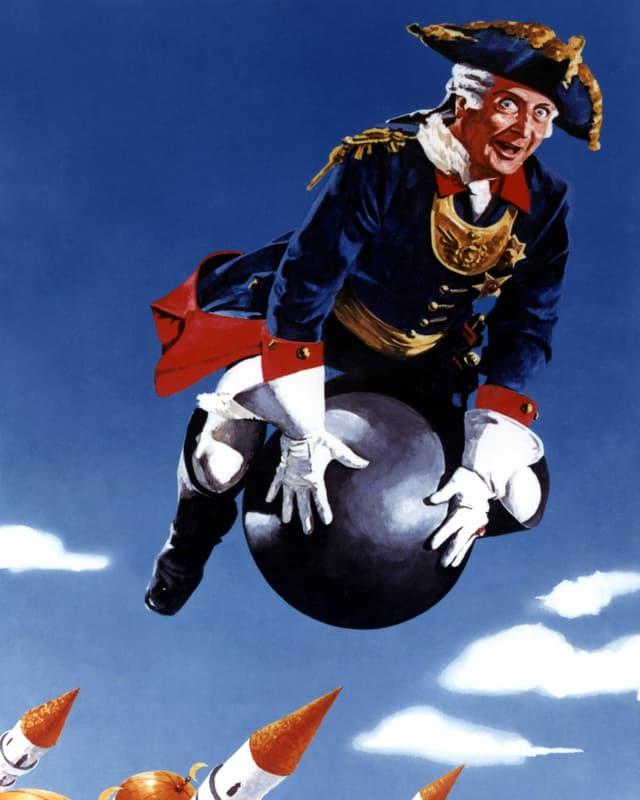 Der Baron fliegt auf einer Kugel.