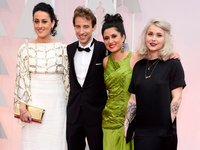 Regisseurin Talkhon Hamzavi und Produzent Stefan Eichenberger mit den beiden Hauptdarstellerinnen  Nissa Kashani und Cheryl Graf