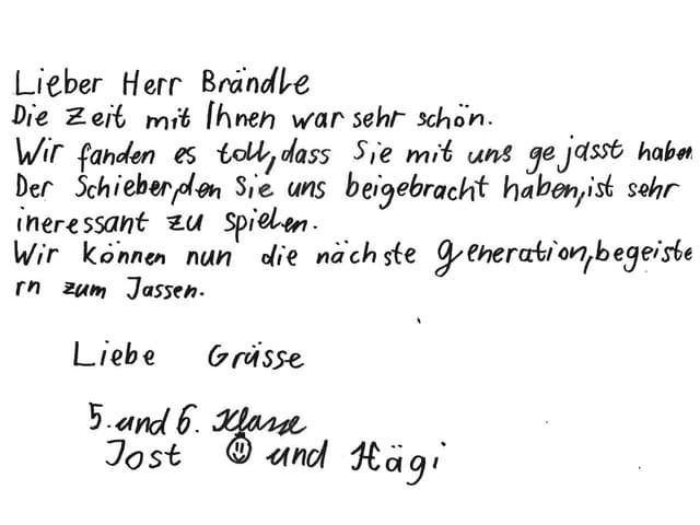 Brief einer 5. und 6. Klasse nach einem Besuch von Hansruedi Brändle.