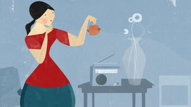Eine Frau hält einen Goldfisch in der Hand, Ausschnitt aus einem Animationsfilm.