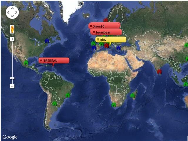 Weltkarte, darauf eingezeichnet Orte, an denen ein Mitglied gerade im Drachen fliegt.