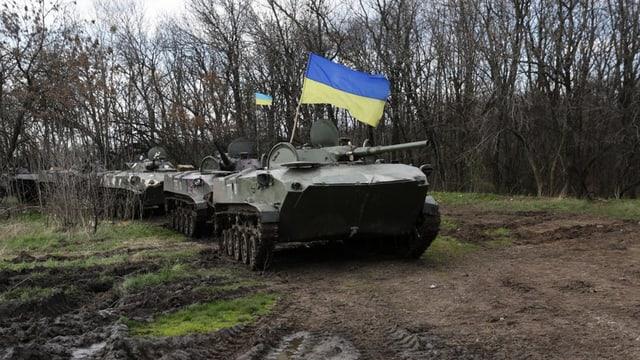 Ukrainische Militärfahrzeuge, fotografiert am 15. April.