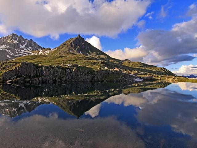 Leicht bewölkter Himmerl, grüne Alpwiese, spiegelglatter See.