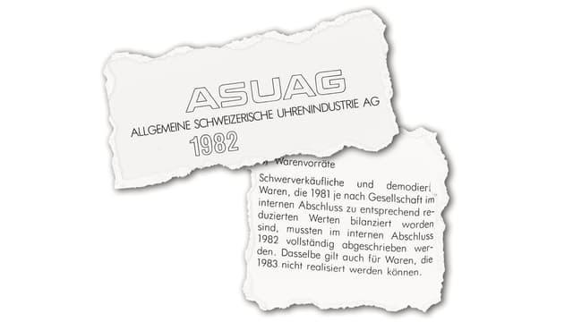 Titel des Berichts zur ASUAG (Allgemeine Schweizerische Uhrenindustrie)