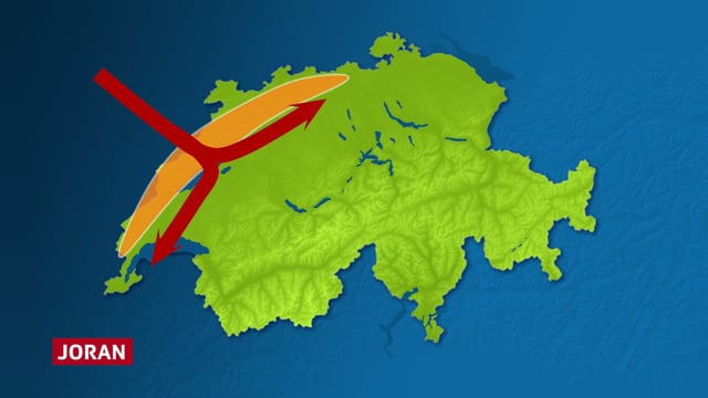 Eine schematische Darstellung des Jurabogens und des Jorans. Pfeile verdeutlichen wie der Wind über den Jura bricht und sich südlich des Juras in zwei Arme teil. Der eine Windarm zeigt in Richtung Genfersee, der andere Windarm in Richtung Solothurn/Aargau.