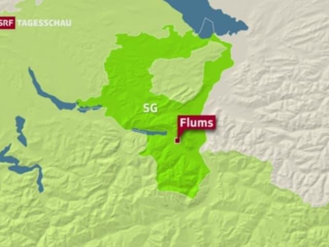 Karte mit markiertem Ort Flums.