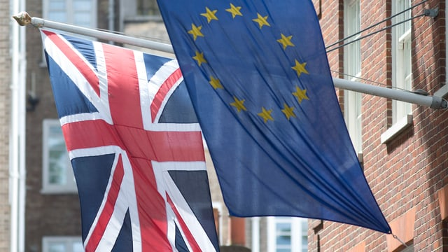 Flagge von Grossbritannien und der EU