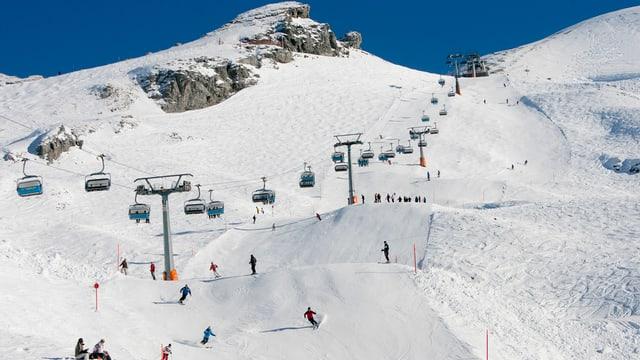 Skifahrerinnen und Skifahrer auf dem Titlis.