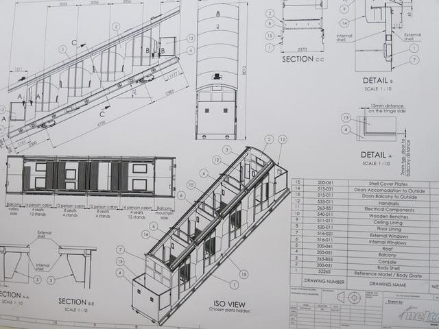 Ein Plan der neuen Bahnkabinen