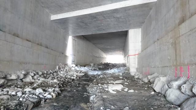 Sguard en il tunnel cun stgalims per ils peschs.