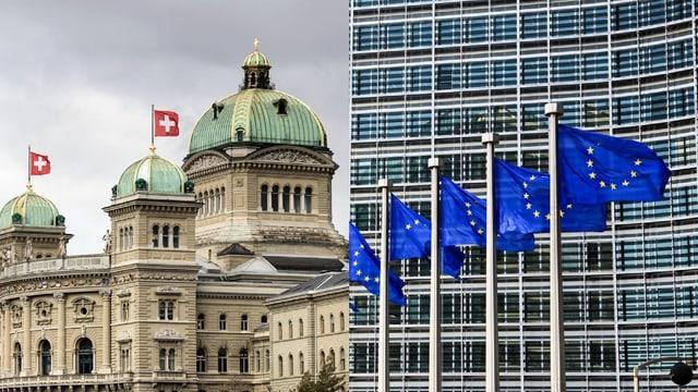 Chasa federala e bandieras da l'UE.