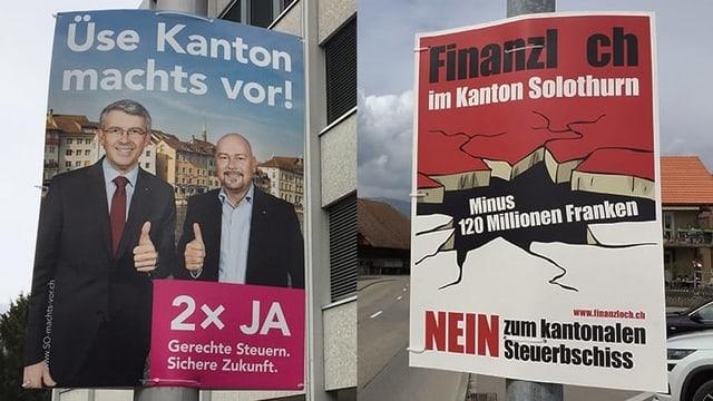 Plakate für und gegen die Solothurner Steuerreform