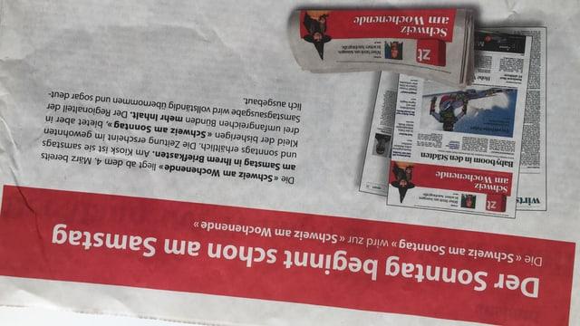 Informationen zur neuen Wochenendausgabe fotografiert aus der Zeitung