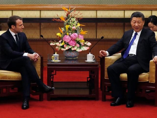 Französischer und chinesischer Präsident.