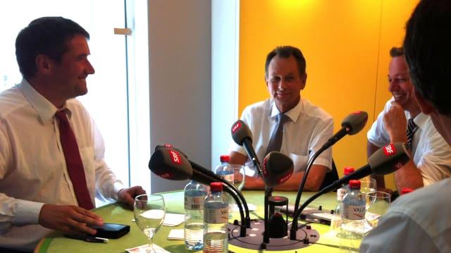 Gesprächsrunde mit den Herren Levrat, Müller und Landolt.