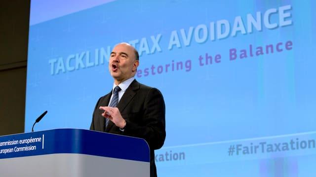 Pierre Moscovici bei der Präsentation der neuen Vorschläge der EU-Kommission.