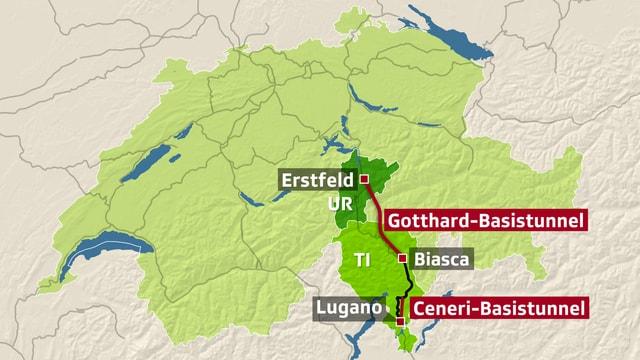 Schweizer Karte mit Gotthard- und Ceneri-Basistunnel.