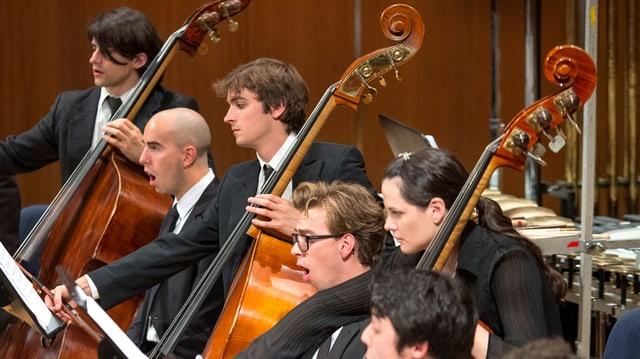 Sänger und Bassisten nebeneinander im Orchester.