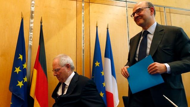 Wolfgang Schäuble und sein französischer Amtskollege Pierre Moscovici