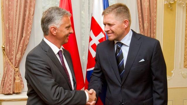 Bundesrat Didier Burkhalter und der slowakische Regierungschef Robert Fico (rechts).