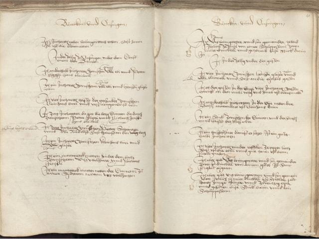 Aufnahme eines alten Buchs mit altertümlicher Handschrift