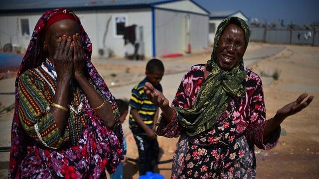 Libysche Flüchtlinge.