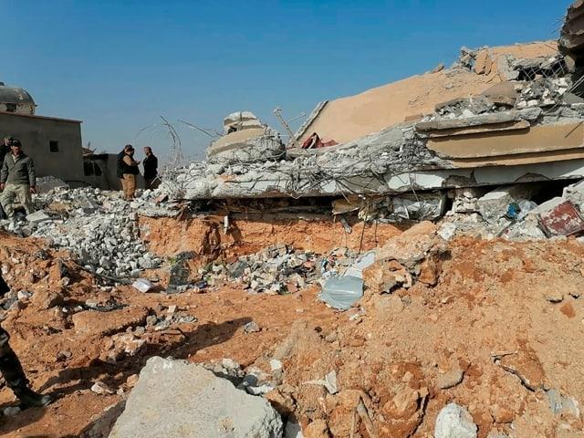 Das zerstörte Hauptquartier der Kataib-Hisbollah im irakischen Qaim.