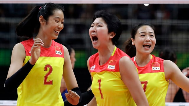 3 chinesische Volleyballerinnen