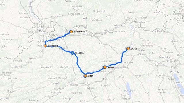 Karte der ganzen Route.