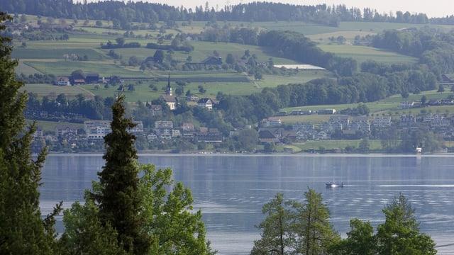 Der Sempachersee, im Hintergrund grüne Hügel.