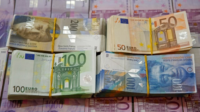 Banknotenbündel Franken und Euro