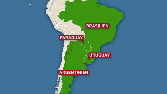 Karte Mercosur-Staaten