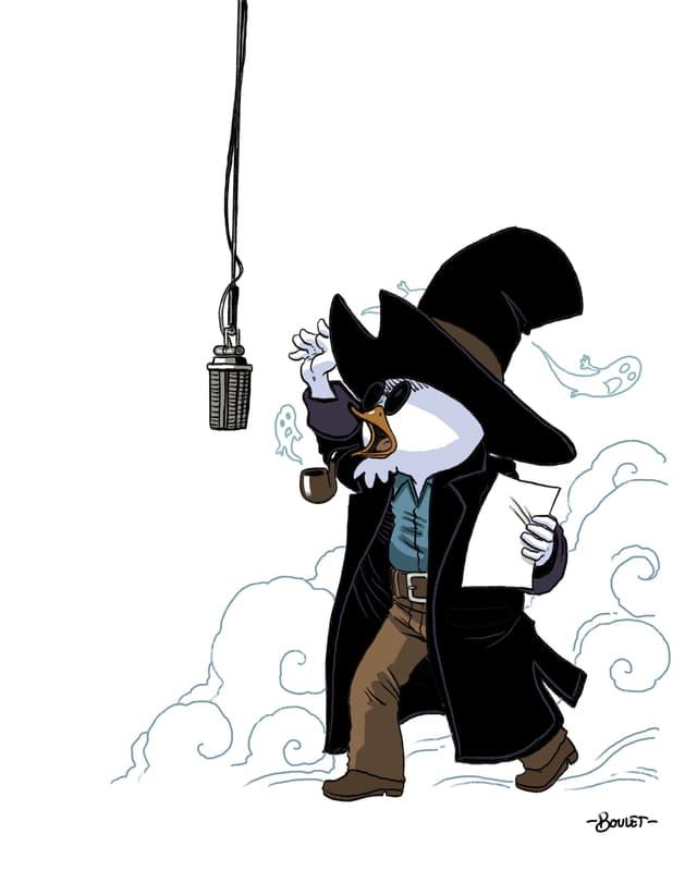 Der Wärter, eine Figur aus dem Donjon-Comic, bei Sprachaufnahmen.