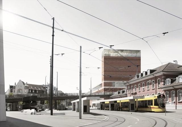 Modell Neubau inklusive der Tramhaltestelle gleich vor dem Museum.