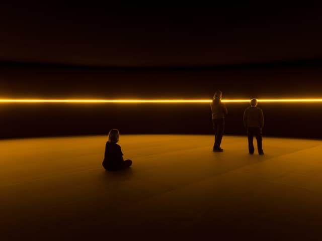 Ein Lichstrahl in einem dunklen Raum. Drei Menschn sind im Raum.
