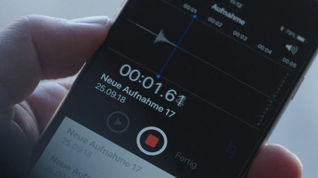 Tonaufnahme auf Smartphone-Bildschirm.