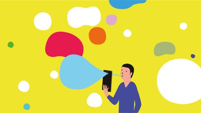 Ein Mann hält eine Smartphone vor sein Gesicht und erzeugt damit bunte Seifenblasen.