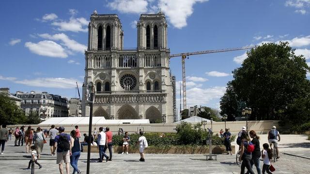 Notre-Dame mit Besuchern davor