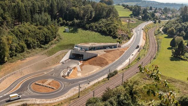 Luftaufnahme vom Tunnelportal