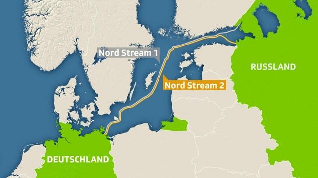 Karte der Pipeline zwischen Deutschland und Russland