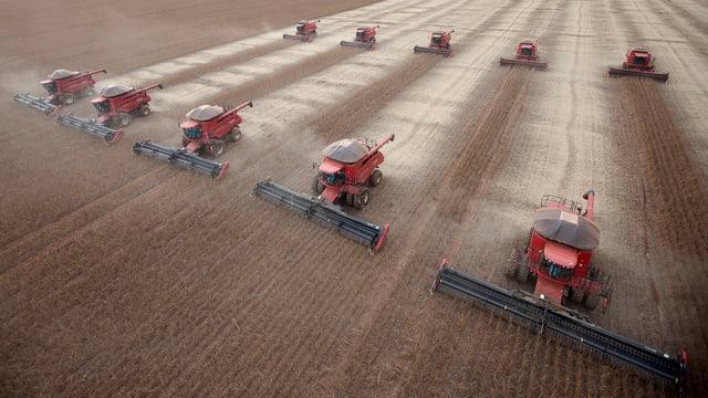 Zehn riesige Maschinen beim Ernten von Soja (Luftaufnahme).