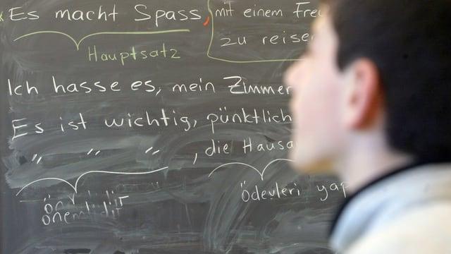 Ein Schüler vor einer Wandtafel im Deutschunterricht.