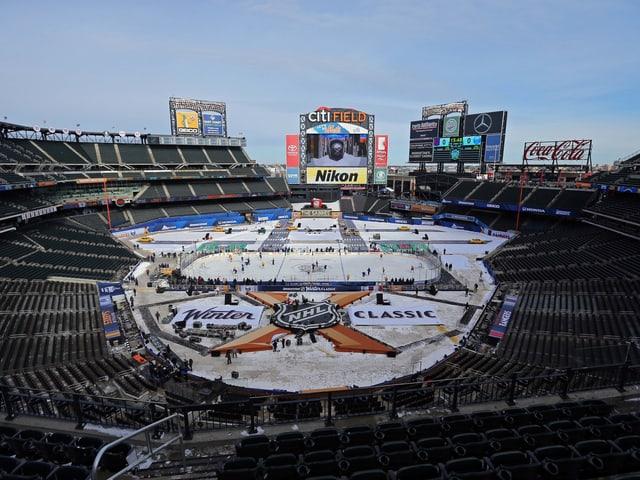 Das Baseball-Stadion der New York Mets wurde für die NHL in ein Eisfeld verwandelt