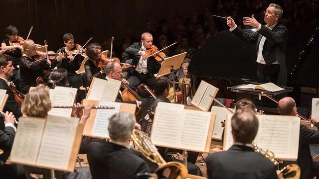 Ein Orchester und ein Dirigent.