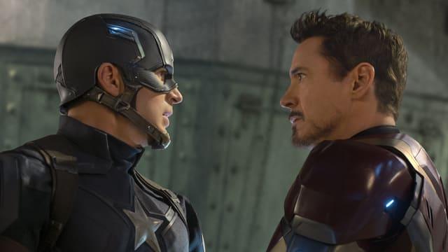 Captain America und Iron Man stehen sich gegenüber