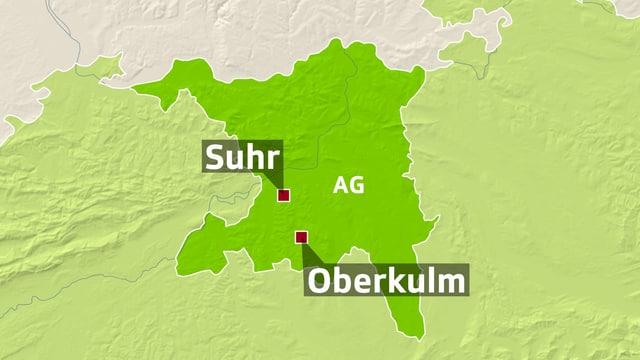 Karte mit zwei Orten markiert: Brugg und Oberkulm.