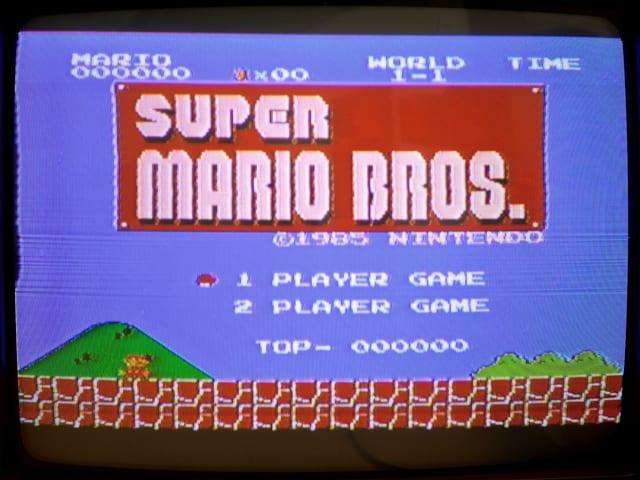 Der Titel-Bildschirm von Super Mario Bros.